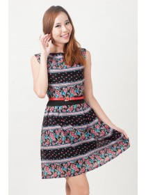 Mira Mini Floral Prints Chiffon Dress