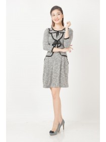 Korean inspired Wool blend Sleeved Dress