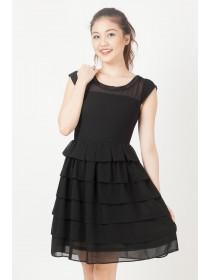 Sequinned Chiffon Tiered Dress