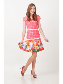 Vibrant Floral Printed Pleated Dress
