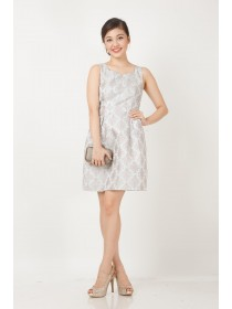Satin Blend Floral Brocade Dress