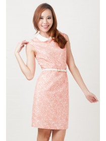 Peter Pan Collar Floral Brocade Dress