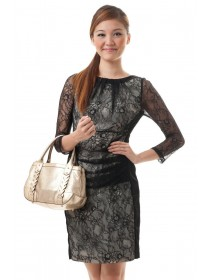 Elegant Lace Ruched Dress