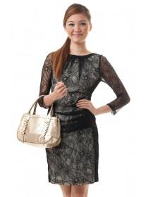 Elegant Lace Ruched Dress