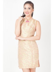 Embroidered Florals Satin Cheongsam