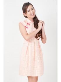Textured Dots Feminine Cheongsam