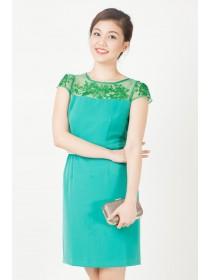 Floral Mesh Top Green Shift Dress