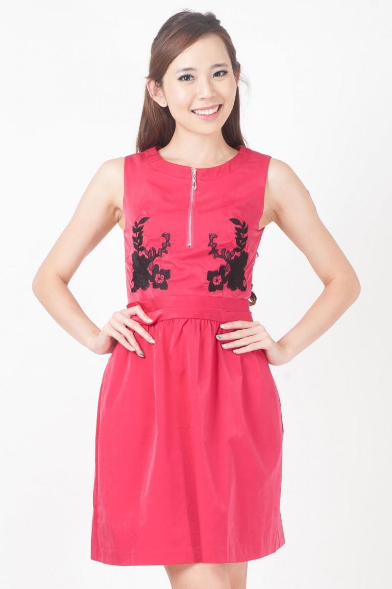 Embroidered floral zipper dress divalavie dresses