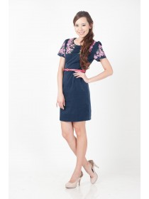 Embroidered Cherry Blossoms Belted Dress