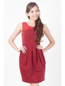 Melita Pearl Embellished Mesh Top Dress