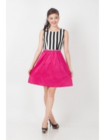 Striped Color Block Crepe Bottom Dress
