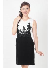 Floral Applique Panelled Shift Dress