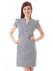 Collared Structured Striped Dress (Blue)