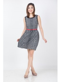 Abstract Houndstooth Wool Blend Dress