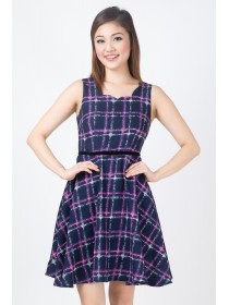 Tweed Plaids Flare Dress