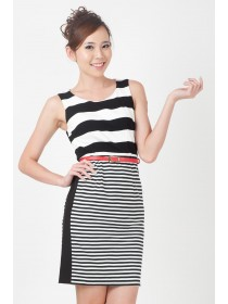 Striped Cotton Sheath Dress