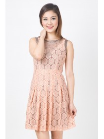 Peach Floral Crochet Mesh Flare Dress