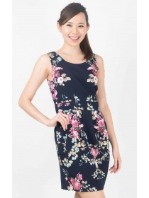 Floral Prints Panelled Shift Dress