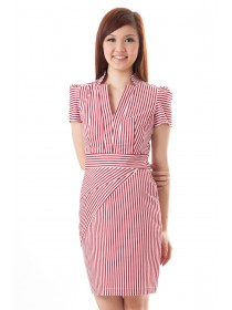 Collared Structured Striped Dress (Red)