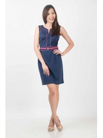 Chic Navy Belted Shift Dress