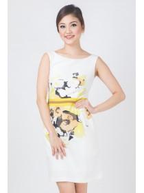 Floral Prints Silk Blend Sheath Dress