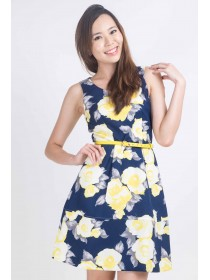Summer Floral Prints Fit and Flare Dress