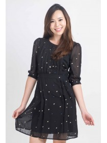 Embroidered Polka Dots Sleeved Chiffon Dress