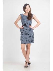 Abstract Chevron Floral Peplum Dress