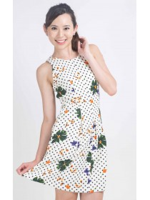 Floral and Dot Prints Fit and Flare Dress