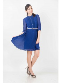 Classic Victorian Pleated Blue Dress