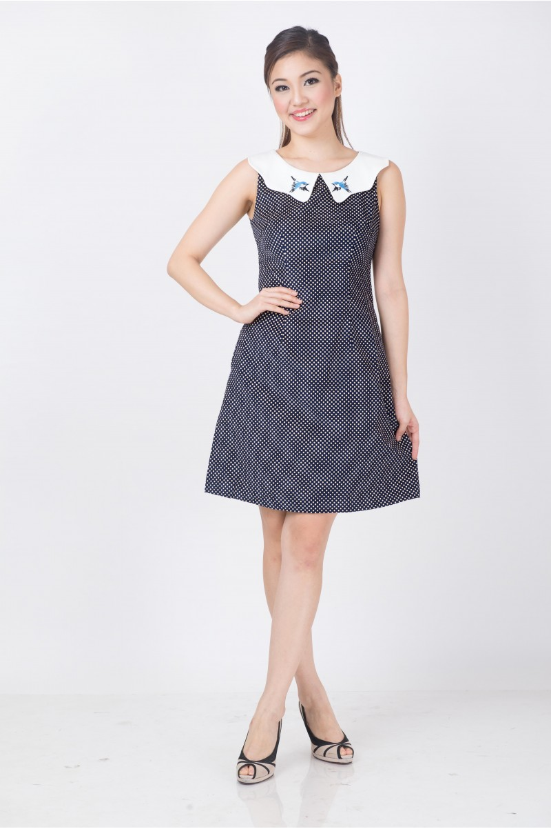 Embroidered sparrows peter pan collar dress divalavie