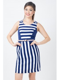 Tabitha Navy Striped Sheath Dress