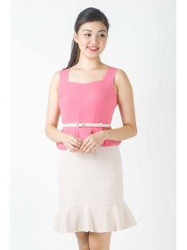 Rose Peplum Frill Bottom Dress