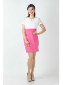 Textured Chiffon Color Block Dress