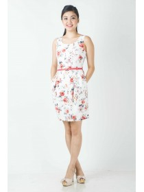 Floral Prints Belted Dress