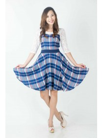 Mesh Lace Plaids Flare Dress