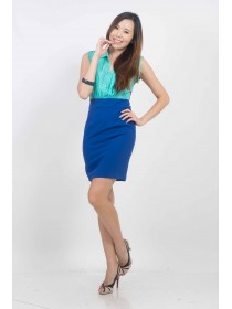 Color Block Two Way Collared Shift Dress