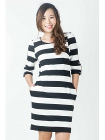 Striped Sleeved Jersey Dress