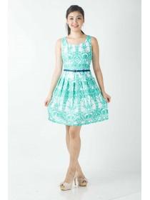 Floral Motifs Prints Stretch Cotton Dress
