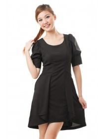 Puff Sleeved Asymmetrical Hem Black Dress