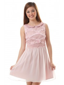 Rosette Applique Mesh Dress (Pink)