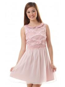 Rosette Applique Mesh Dress (Pink)
