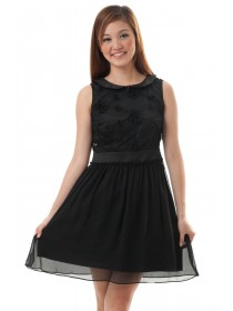 Rosette Applique Mesh Dress (Black)