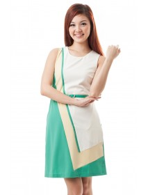 Ingrid Color Block Belted Dress