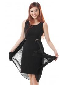 Asymmetical Pleated Skirting Dress