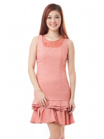Issa Frill Bottom Dress (Coral)
