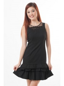 Issa Frill Bottom Dress (Black)