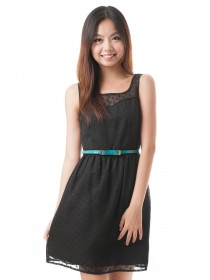 Embossed Hearts A Line Dress