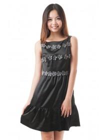 Crystal Floral Applique Satin Dress