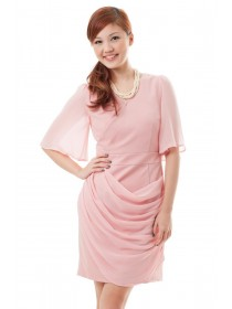 Chiffon Sleeves Side Drape Dress